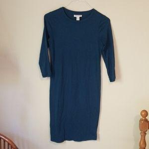 Motherhood Bodycon Maternity 3/4 Sleeve Blue dress